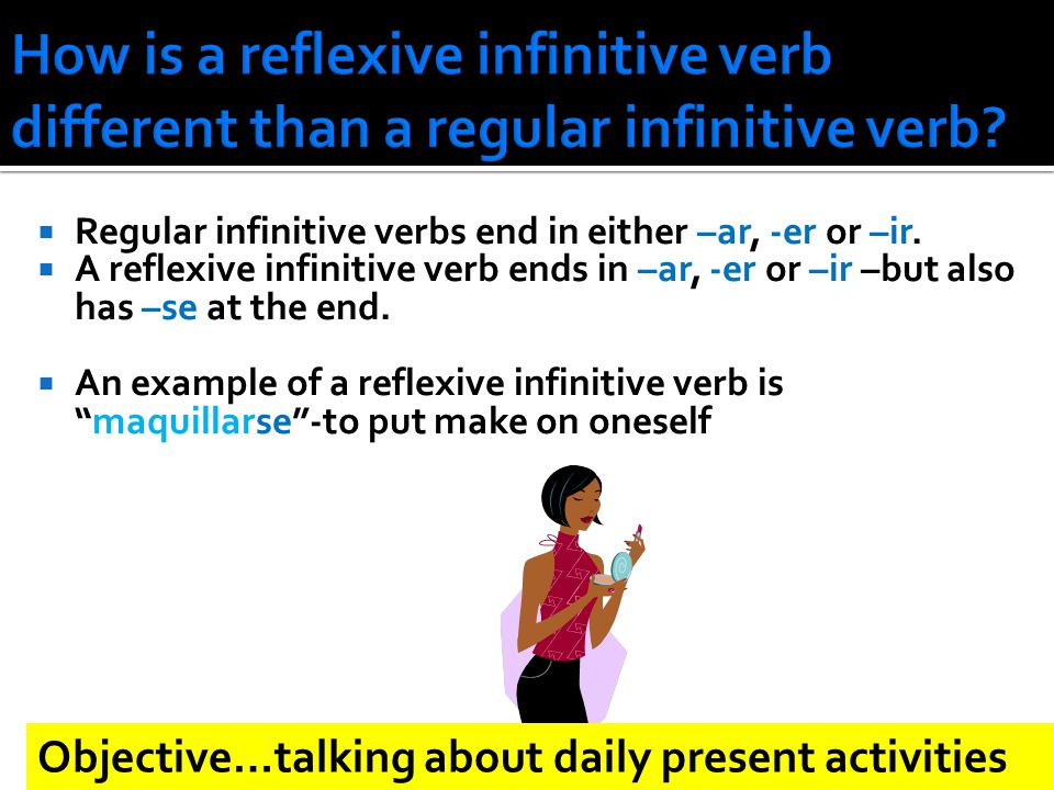  Regular infinitive verbs end in either –ar, -er or –ir.