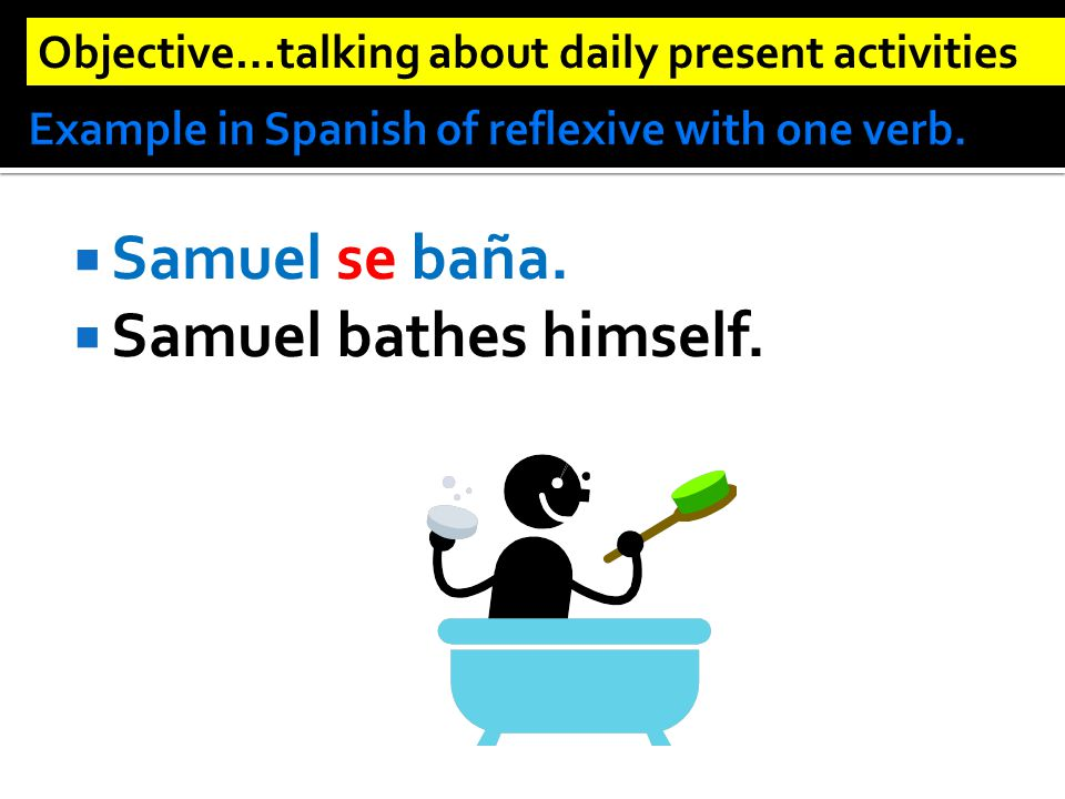  Samuel se baña.  Samuel bathes himself. Objective…talking about daily present activities