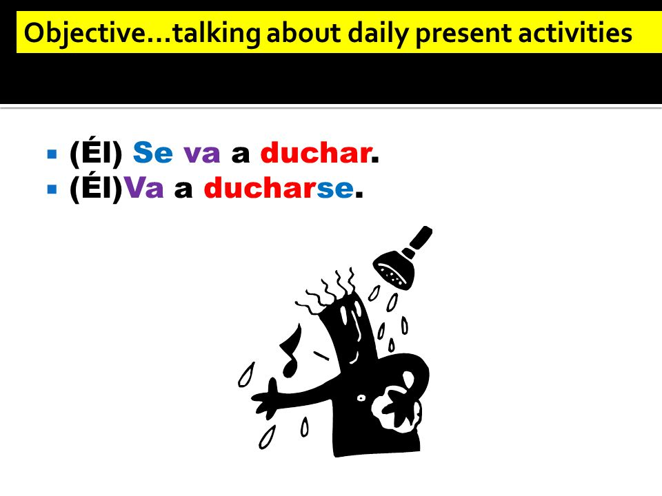 (Él) Se va a duchar.  (Él)Va a ducharse. Objective…talking about daily present activities