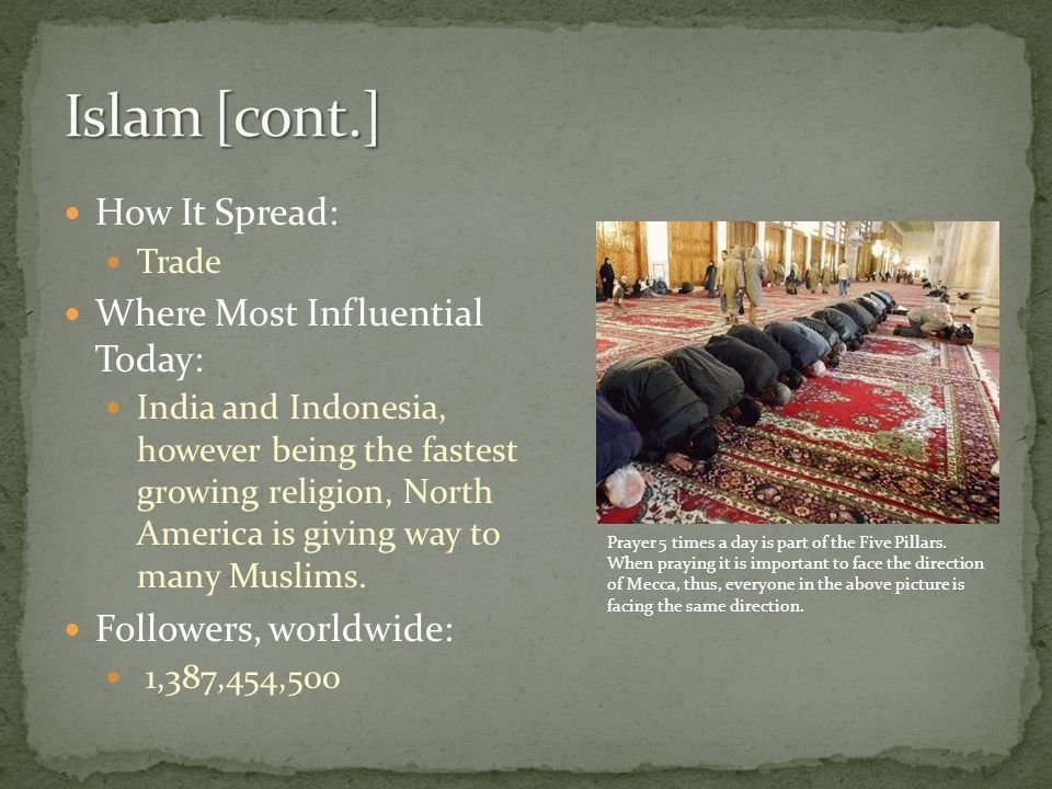 How It Spread: Trade Where Most Influential Today: India and Indonesia, however being the fastest growing religion, North America is giving way to many Muslims.