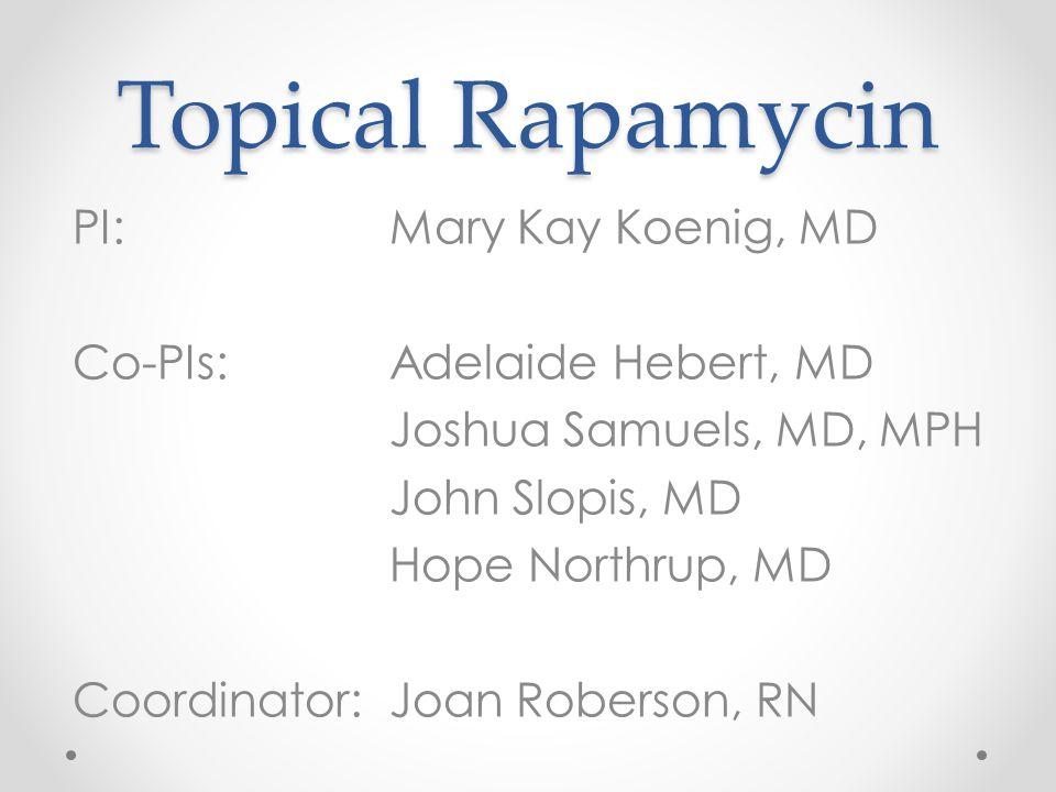 Research Team Adelaide Hebert, MD Joshua Samuels, MD, MPH John Slopis, MD Hope Northrup, MD Joan Roberson, RN