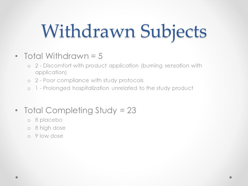 Withdrawn Subjects Total Withdrawn = 5 o 2 - Discomfort with product application (burning sensation with application) o 2 - Poor compliance with study protocols o 1 - Prolonged hospitalization unrelated to the study product Total Completing Study = 23 o 8 placebo o 8 high dose o 9 low dose