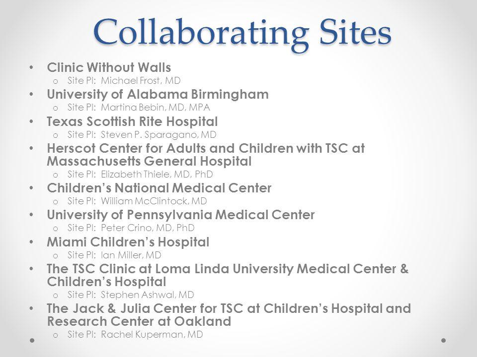 Collaborating Sites Clinic Without Walls o Site PI: Michael Frost, MD University of Alabama Birmingham o Site PI: Martina Bebin, MD, MPA Texas Scottish Rite Hospital o Site PI: Steven P.
