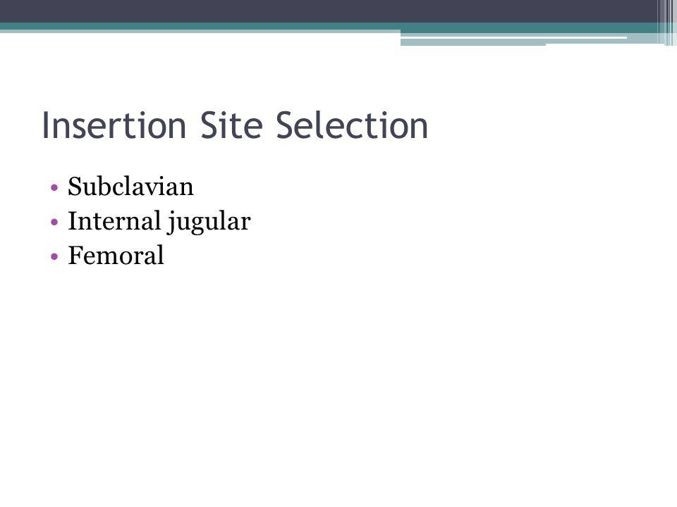 Insertion Site Selection Subclavian Internal jugular Femoral