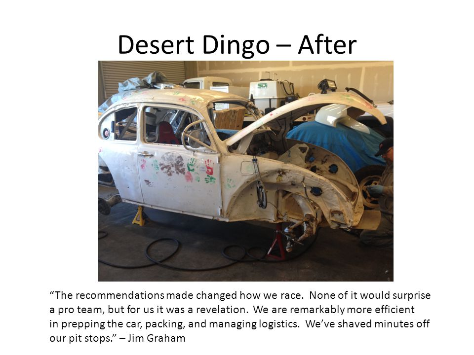 """Desert Dingo – After """"The recommendations made changed how we race. None of it would surprise a pro team, but for us it was a revelation. We are remar"""