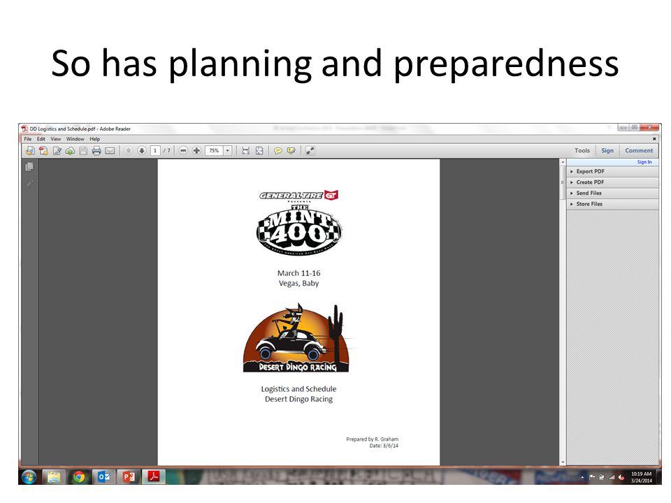 So has planning and preparedness