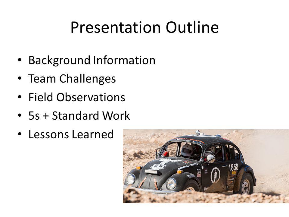 Presentation Outline Background Information Team Challenges Field Observations 5s + Standard Work Lessons Learned
