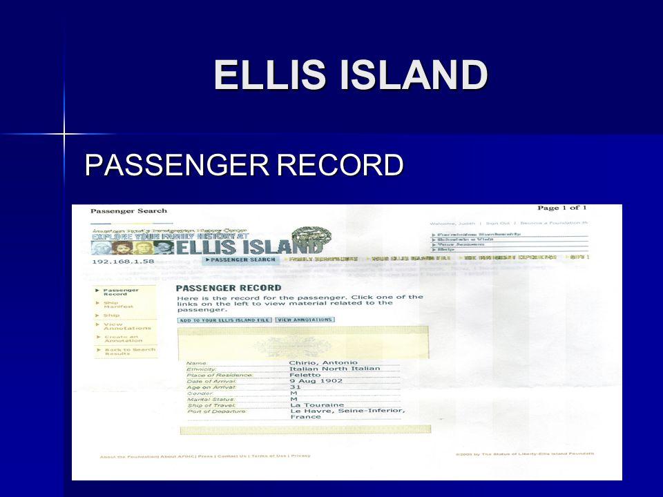 ELLIS ISLAND PASSENGER RECORD