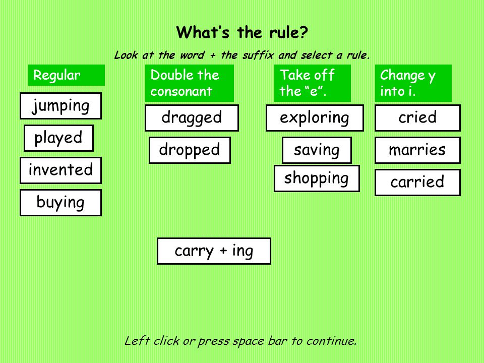What's the rule. Look at the word + the suffix and select a rule.