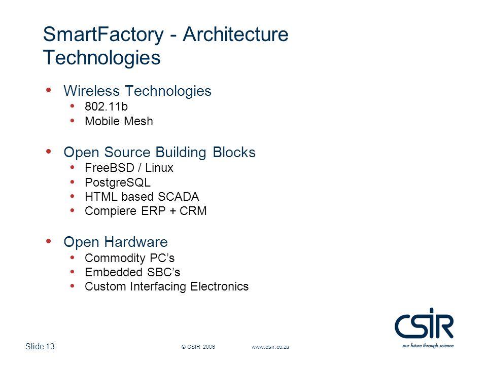 Slide 13 © CSIR 2006 www.csir.co.za SmartFactory - Architecture Technologies Wireless Technologies 802.11b Mobile Mesh Open Source Building Blocks Fre