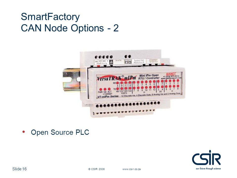 Slide 16 © CSIR 2006 www.csir.co.za SmartFactory CAN Node Options - 2 Open Source PLC