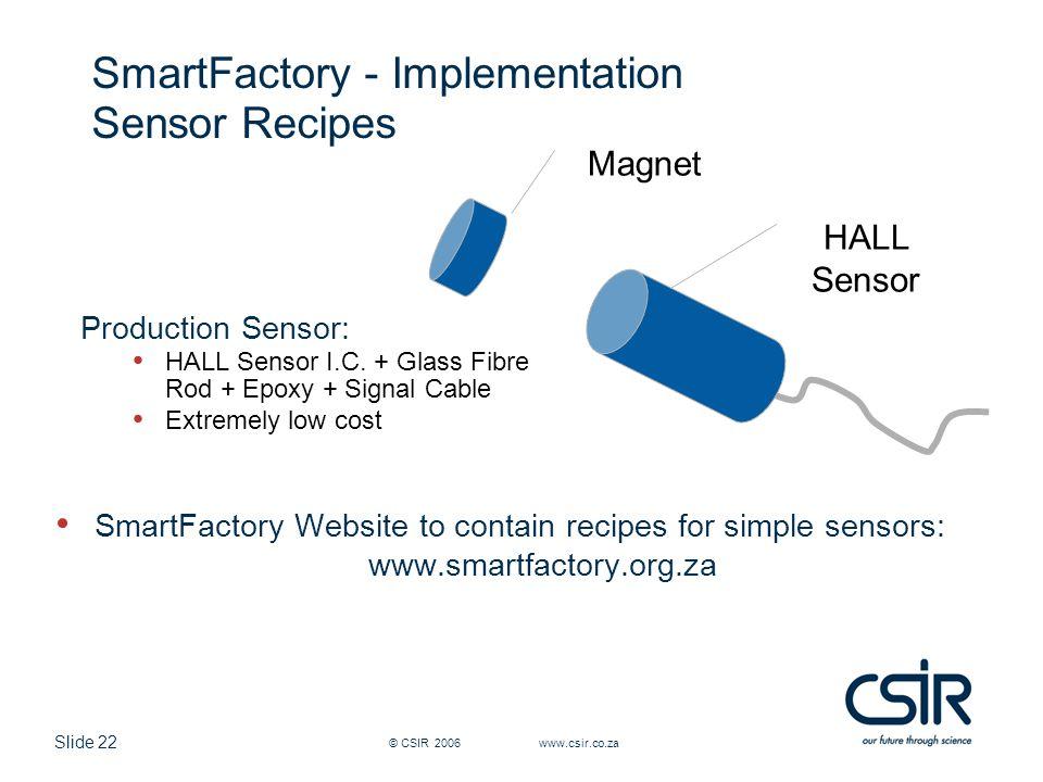 Slide 22 © CSIR 2006 www.csir.co.za SmartFactory - Implementation Sensor Recipes SmartFactory Website to contain recipes for simple sensors: www.smartfactory.org.za Production Sensor: HALL Sensor I.C.