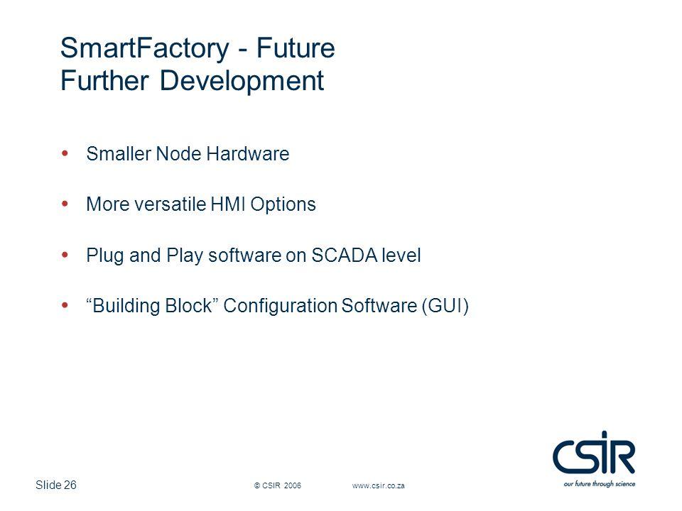 Slide 26 © CSIR 2006 www.csir.co.za SmartFactory - Future Further Development Smaller Node Hardware More versatile HMI Options Plug and Play software on SCADA level Building Block Configuration Software (GUI)