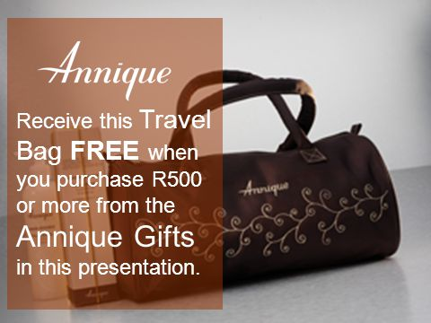 Receive this Travel Bag FREE when you purchase R500 or more from the Annique Gifts in this presentation.