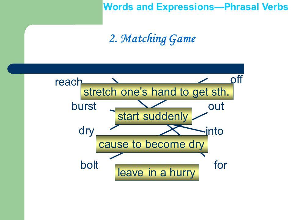 II. Phrasal Verbs 1. Complete the ripple diagram.