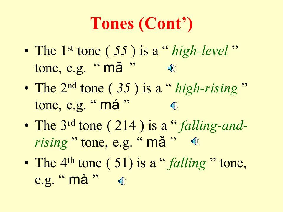Tones (Cont')