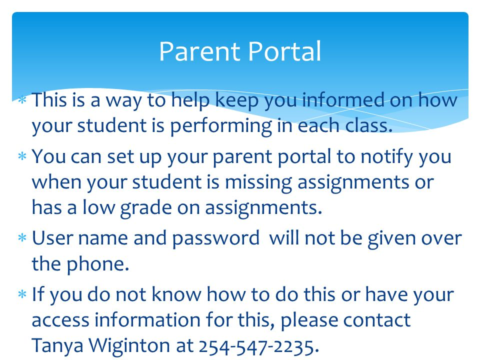  This is a way to help keep you informed on how your student is performing in each class.