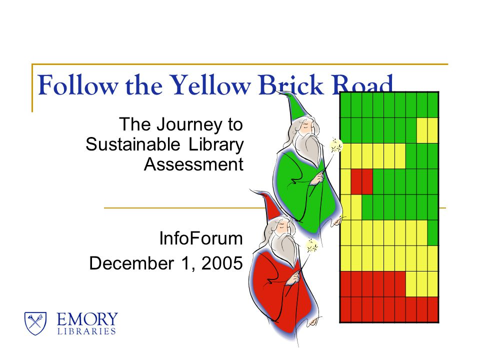 Follow the Yellow Brick Road The Journey to Sustainable Library Assessment InfoForum December 1, 2005