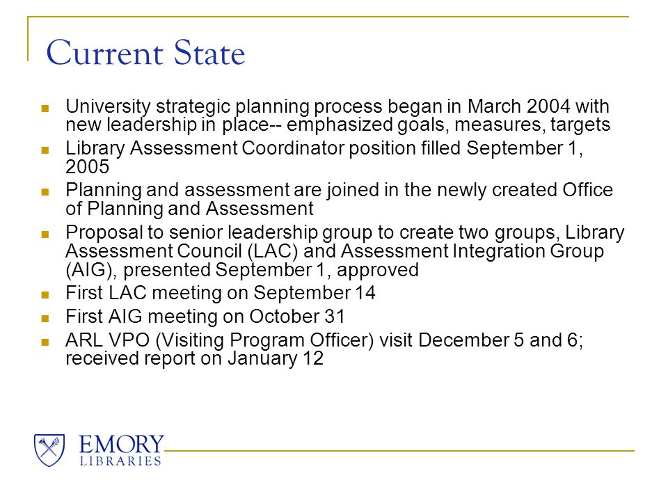 Next Steps Meet with VPOs at ALA Midwinter to work on the follow-up project Discuss the report at ESG (Executive Strategy Group), then discuss in LAC and AIG Conduct all-staff information sharing meeting Use the follow-up project to further the journey toward sustainable assessment!