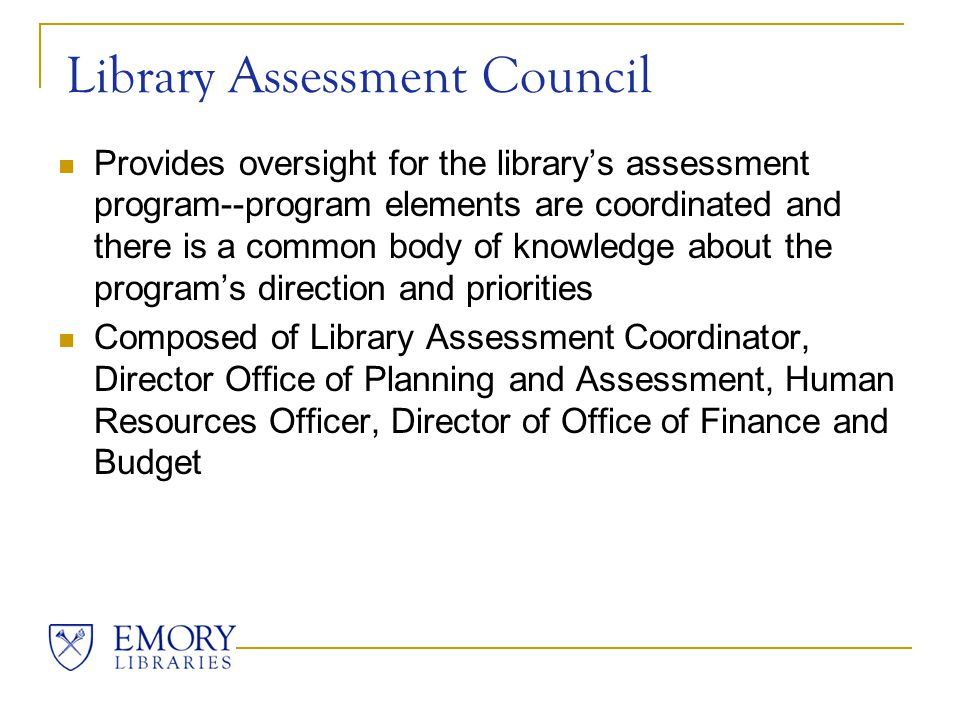 Assessment Integration Group Coordinates, promotes, and monitors assessment efforts in the library, supporting and sustaining a user-centered environment in which decisions are based on facts, research and analysis, and where services are planned and delivered in ways which maximize positive outcomes and impacts for customers and stakeholders Composed of 14 volunteers from throughout the library