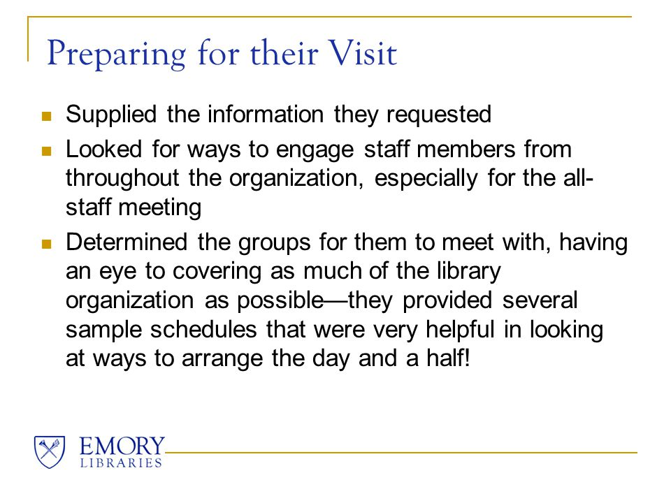 Documents Sent to VPOs All LibQual+ data from 2003 and 2005 surveys Market Council summit meeting notes Organizational Task Force documents Library's strategic plan document Expectations for the visit Potential follow-up projects