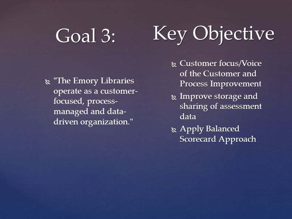 Goal 3: Key Objective   The Emory Libraries operate as a customer- focused, process- managed and data- driven organization.  Customer focus/Voice of the Customer and Process Improvement  Improve storage and sharing of assessment data  Apply Balanced Scorecard Approach