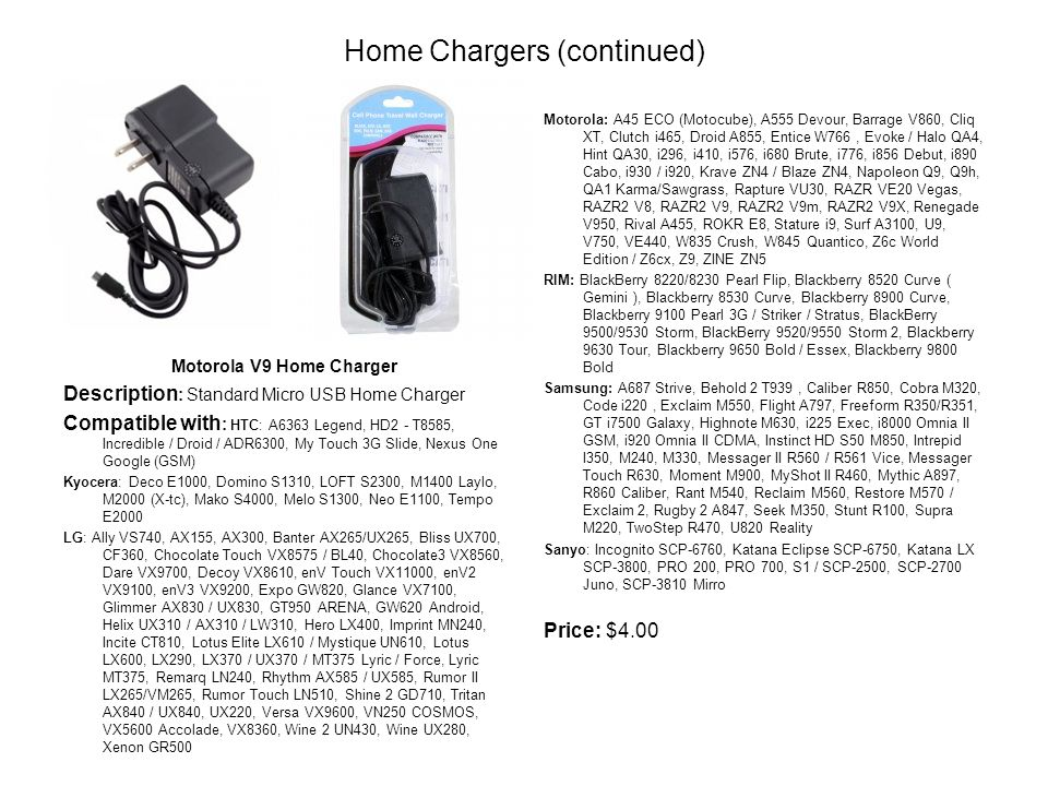 Home Chargers (continued) Motorola V9 Home Charger Description : Standard Micro USB Home Charger Compatible with : HTC: A6363 Legend, HD2 - T8585, Incredible / Droid / ADR6300, My Touch 3G Slide, Nexus One Google (GSM) Kyocera: Deco E1000, Domino S1310, LOFT S2300, M1400 Laylo, M2000 (X-tc), Mako S4000, Melo S1300, Neo E1100, Tempo E2000 LG: Ally VS740, AX155, AX300, Banter AX265/UX265, Bliss UX700, CF360, Chocolate Touch VX8575 / BL40, Chocolate3 VX8560, Dare VX9700, Decoy VX8610, enV Touch VX11000, enV2 VX9100, enV3 VX9200, Expo GW820, Glance VX7100, Glimmer AX830 / UX830, GT950 ARENA, GW620 Android, Helix UX310 / AX310 / LW310, Hero LX400, Imprint MN240, Incite CT810, Lotus Elite LX610 / Mystique UN610, Lotus LX600, LX290, LX370 / UX370 / MT375 Lyric / Force, Lyric MT375, Remarq LN240, Rhythm AX585 / UX585, Rumor II LX265/VM265, Rumor Touch LN510, Shine 2 GD710, Tritan AX840 / UX840, UX220, Versa VX9600, VN250 COSMOS, VX5600 Accolade, VX8360, Wine 2 UN430, Wine UX280, Xenon GR500 Motorola: A45 ECO (Motocube), A555 Devour, Barrage V860, Cliq XT, Clutch i465, Droid A855, Entice W766, Evoke / Halo QA4, Hint QA30, i296, i410, i576, i680 Brute, i776, i856 Debut, i890 Cabo, i930 / i920, Krave ZN4 / Blaze ZN4, Napoleon Q9, Q9h, QA1 Karma/Sawgrass, Rapture VU30, RAZR VE20 Vegas, RAZR2 V8, RAZR2 V9, RAZR2 V9m, RAZR2 V9X, Renegade V950, Rival A455, ROKR E8, Stature i9, Surf A3100, U9, V750, VE440, W835 Crush, W845 Quantico, Z6c World Edition / Z6cx, Z9, ZINE ZN5 RIM: BlackBerry 8220/8230 Pearl Flip, Blackberry 8520 Curve ( Gemini ), Blackberry 8530 Curve, Blackberry 8900 Curve, Blackberry 9100 Pearl 3G / Striker / Stratus, BlackBerry 9500/9530 Storm, BlackBerry 9520/9550 Storm 2, Blackberry 9630 Tour, Blackberry 9650 Bold / Essex, Blackberry 9800 Bold Samsung: A687 Strive, Behold 2 T939, Caliber R850, Cobra M320, Code i220, Exclaim M550, Flight A797, Freeform R350/R351, GT i7500 Galaxy, Highnote M630, i225 Exec, i8000 Omnia II GSM, i920 Omnia II CDMA, Instinct HD S50 M850, Intrepid I350, M240, M330, Messager II R560 / R561 Vice, Messager Touch R630, Moment M900, MyShot II R460, Mythic A897, R860 Caliber, Rant M540, Reclaim M560, Restore M570 / Exclaim 2, Rugby 2 A847, Seek M350, Stunt R100, Supra M220, TwoStep R470, U820 Reality Sanyo: Incognito SCP-6760, Katana Eclipse SCP-6750, Katana LX SCP-3800, PRO 200, PRO 700, S1 / SCP-2500, SCP-2700 Juno, SCP-3810 Mirro Price: $4.00