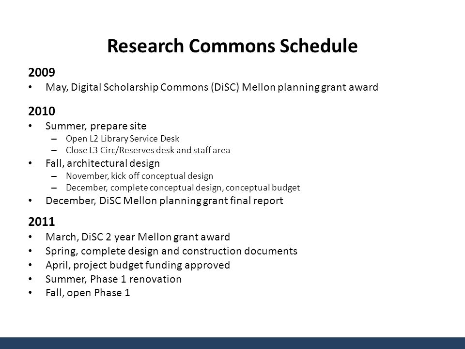Research Commons Schedule 2009 May, Digital Scholarship Commons (DiSC) Mellon planning grant award 2010 Summer, prepare site – Open L2 Library Service Desk – Close L3 Circ/Reserves desk and staff area Fall, architectural design – November, kick off conceptual design – December, complete conceptual design, conceptual budget December, DiSC Mellon planning grant final report 2011 March, DiSC 2 year Mellon grant award Spring, complete design and construction documents April, project budget funding approved Summer, Phase 1 renovation Fall, open Phase 1