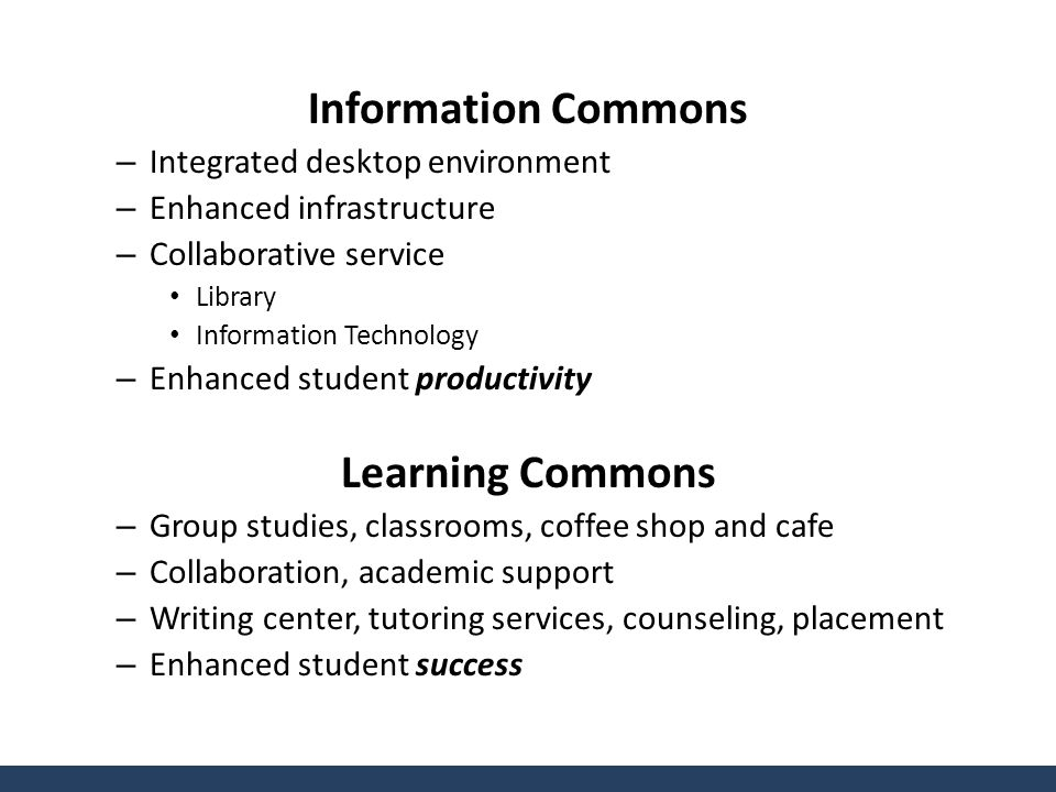 Information Commons – Integrated desktop environment – Enhanced infrastructure – Collaborative service Library Information Technology – Enhanced student productivity Learning Commons – Group studies, classrooms, coffee shop and cafe – Collaboration, academic support – Writing center, tutoring services, counseling, placement – Enhanced student success