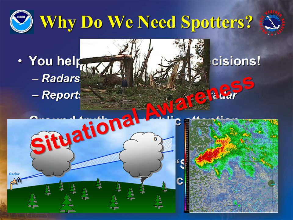 Why Do We Need Spotters. You help us make warning decisions!You help us make warning decisions.