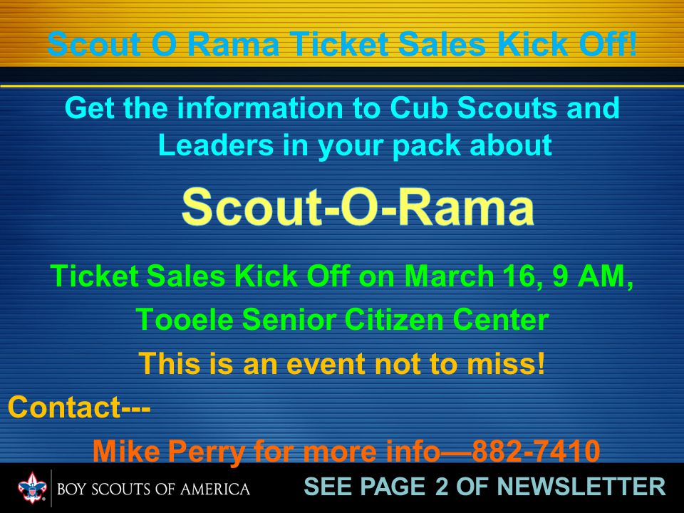 Scout O Rama Ticket Sales Kick Off.