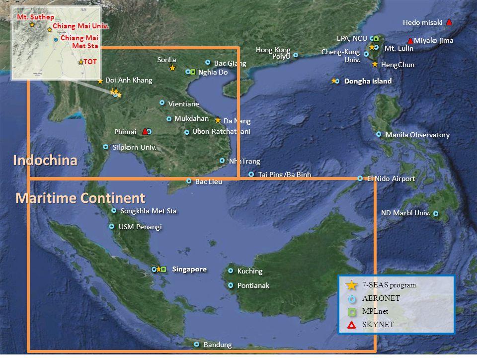 Da Nang SonLa Doi Anh Khang PhimaiPhimai Miyako jima Hedo misaki TOT 7-SEAS program AERONET MPLnet SKYNET Indochina Maritime Continent