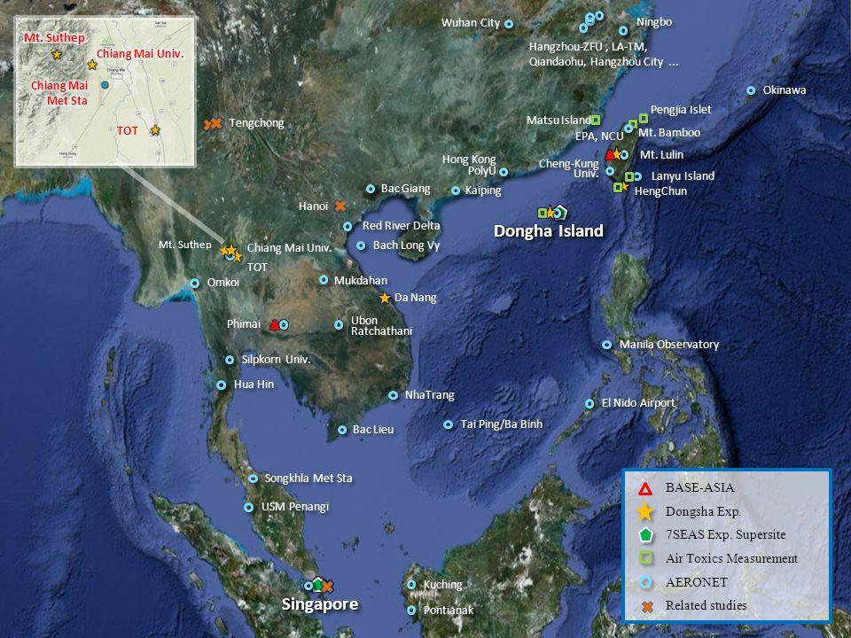 Pengjia Islet Mt. Bamboo Chiang Mai Univ. TOT Phimai Matsu Island Mt. Suthep Lanyu Island TOT BASE-ASIA Dongsha Exp. 7SEAS Exp. Supersite Air Toxics M