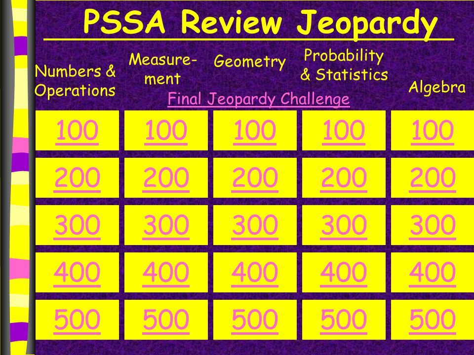 PSSA Review Jeopardy Numbers & Operations Measure- ment Geometry Probability & Statistics Algebra 100 200 300 400 500 100 200 300 400 500 100 200 300 400 500 100 200 300 400 500 100 200 300 400 500 Final Jeopardy Challenge