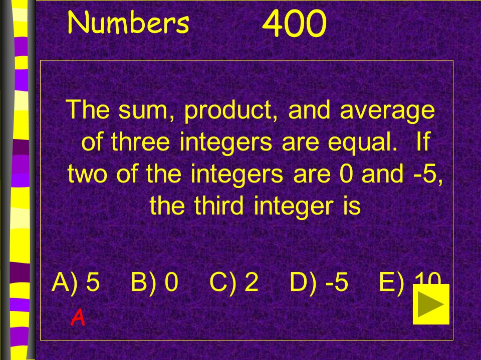 Numbers Calculate: 2-3 ●4 2 -5 A) -21 B) -11 C) 45 D) -31 500 C