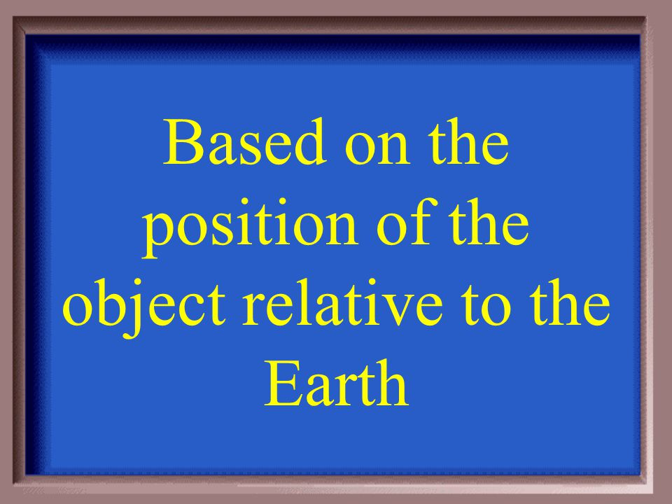Based on the position of the object relative to the Earth