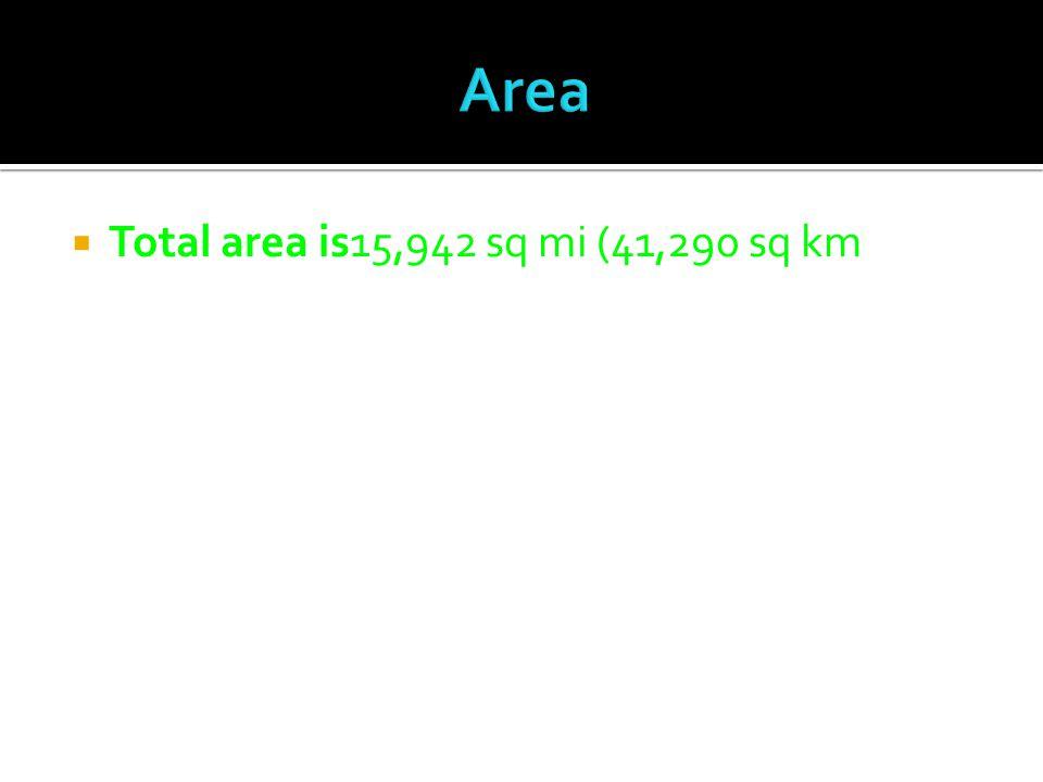  Total area is15,942 sq mi (41,290 sq km