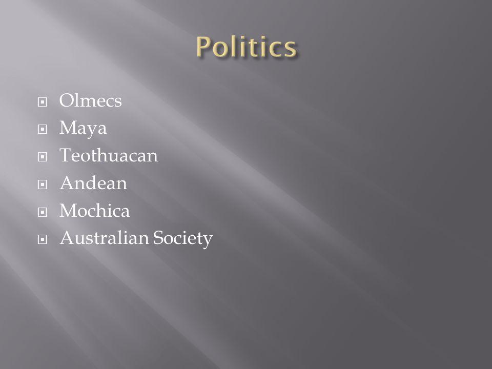  Olmecs  Maya  Teothuacan  Andean  Mochica  Australian Society
