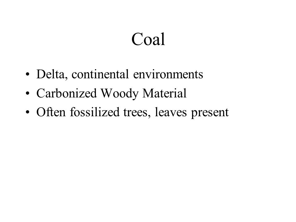 Coal Delta, continental environments Carbonized Woody Material Often fossilized trees, leaves present