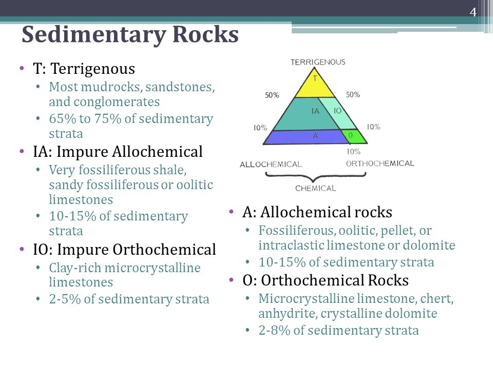 Sedimentary Rocks T: Terrigenous Most mudrocks, sandstones, and conglomerates 65% to 75% of sedimentary strata IA: Impure Allochemical Very fossilifer
