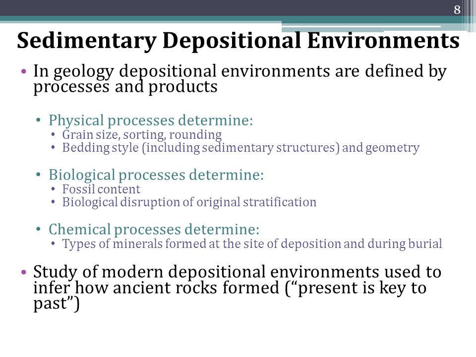 Sedimentary Depositional Environments In geology depositional environments are defined by processes and products Physical processes determine: Grain s
