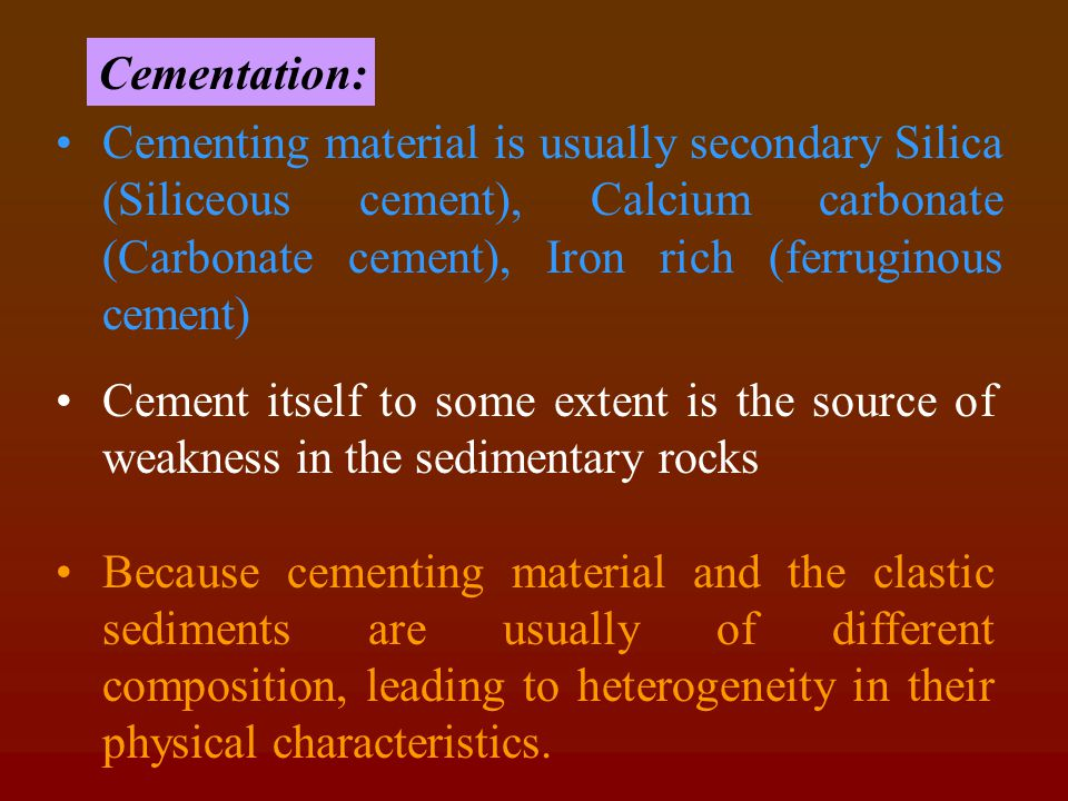 IMPORTANCE CONGLOMERATE comprise clastic sediments like pebbles and cobbles (heterogeneous) If the cementation is good (voids between the clasts) = then the conglomerate will be hard and competent hence act as strong foundation, but not good rock for ground water source.