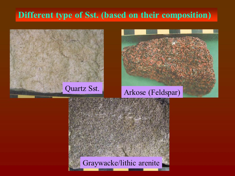 SANDSTONE: Made up of sand grains dominantly of Quartz and Feldspars, where quartz is highly resistive to weathering Cementation plays similar role in this rock as seen in conglomerate However, Siliceous cement are best and highly desirable for CE purposes, also the ferruginous sst.