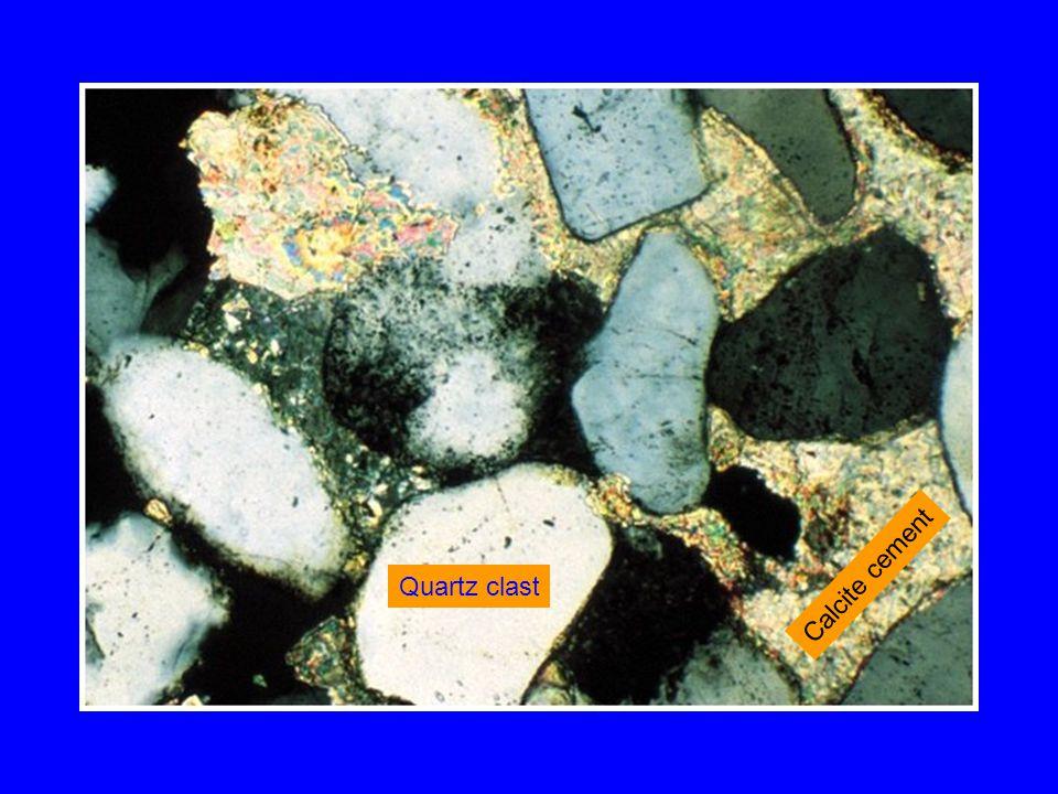 Quartz clast Calcite cement