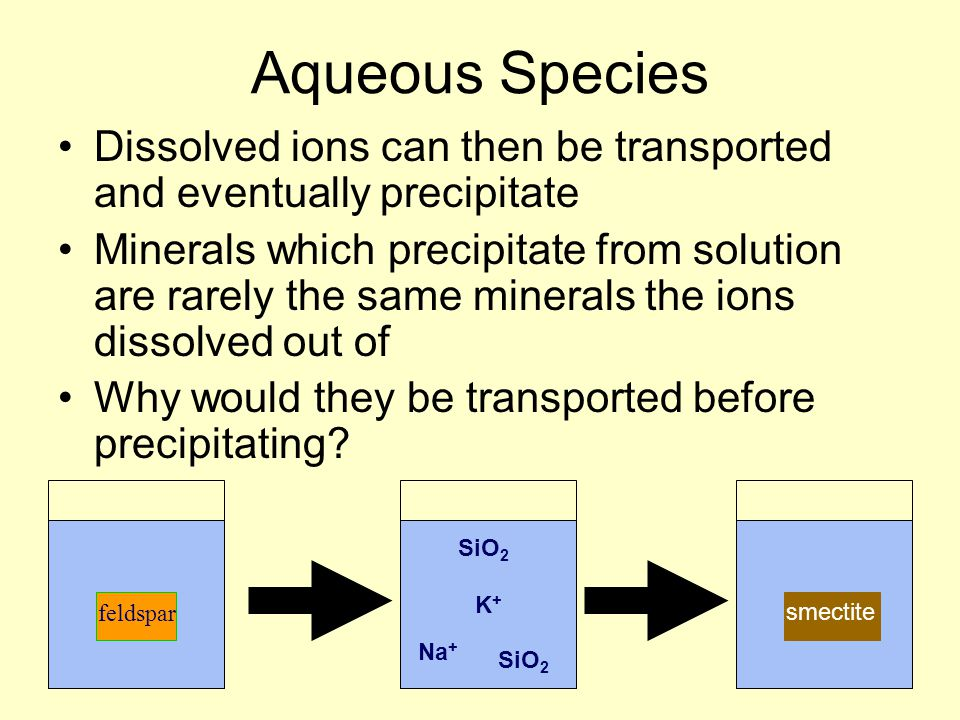 Aqueous Species Dissolved ions can then be transported and eventually precipitate Minerals which precipitate from solution are rarely the same mineral