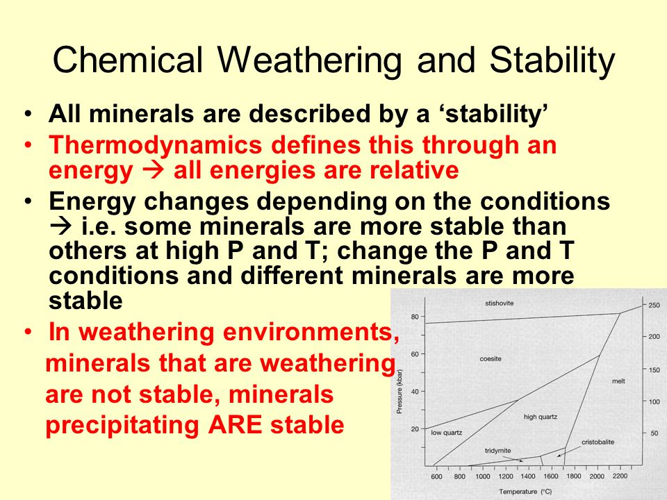 Chemical Weathering and Stability All minerals are described by a 'stability' Thermodynamics defines this through an energy  all energies are relativ