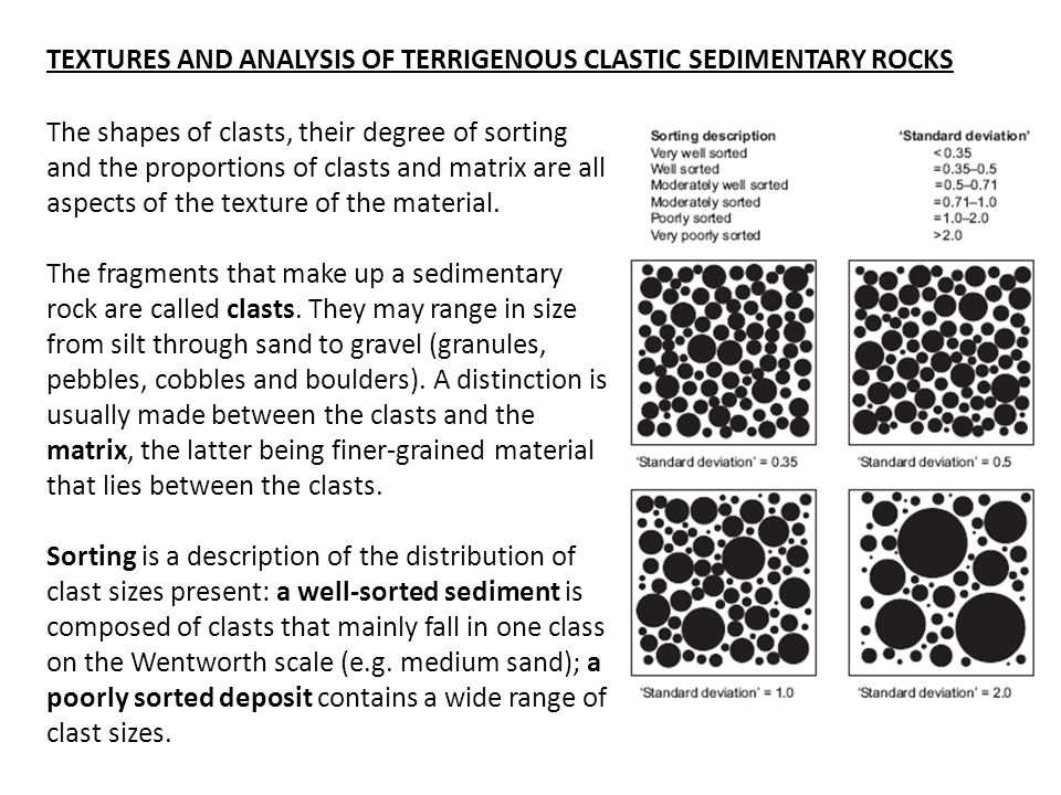 The shapes of clasts, their degree of sorting and the proportions of clasts and matrix are all aspects of the texture of the material.