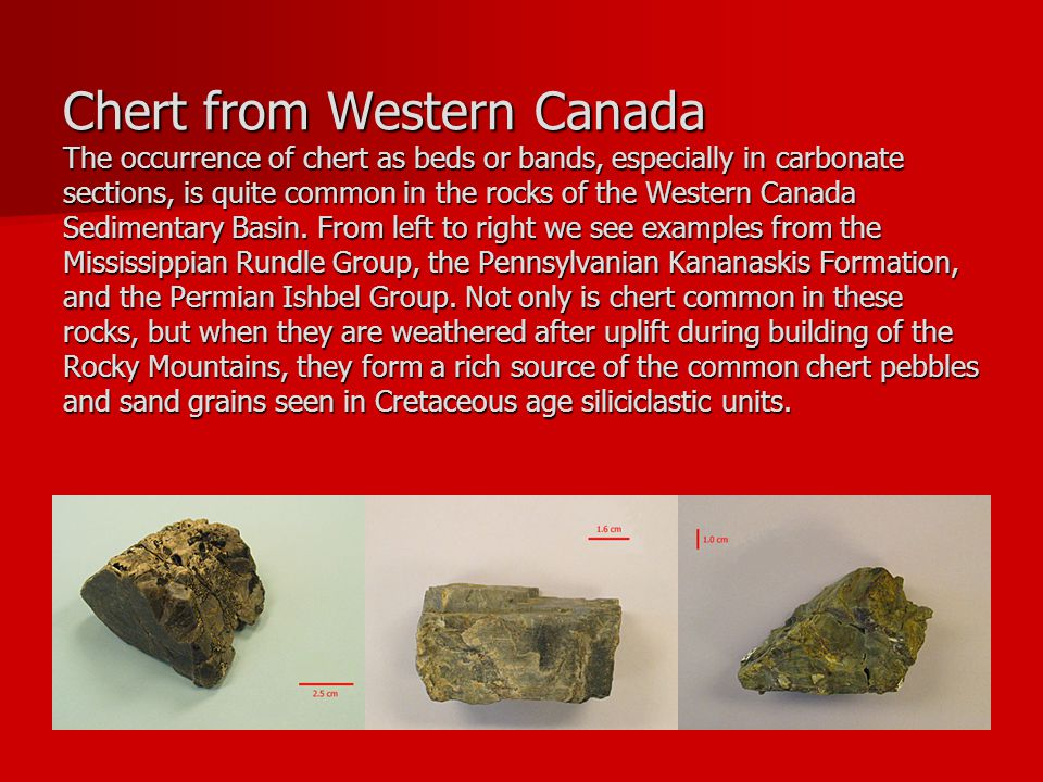 Chert from Western Canada The occurrence of chert as beds or bands, especially in carbonate sections, is quite common in the rocks of the Western Canada Sedimentary Basin.