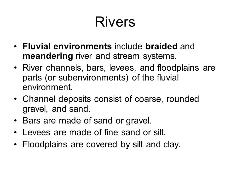 Rivers Fluvial environments include braided and meandering river and stream systems. River channels, bars, levees, and floodplains are parts (or suben
