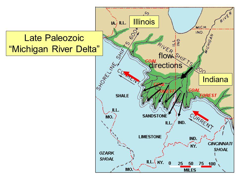 "Late Paleozoic ""Michigan River Delta"" Illinois Indiana flow directions"